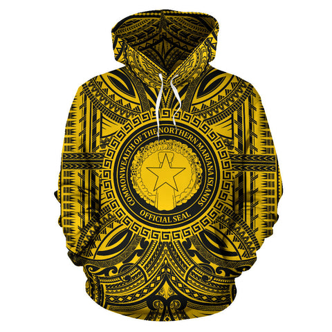 Northern Mariana Islands All Over Hoodie - Northern Mariana Islands Coat Of Arms Polynesian Gold Black