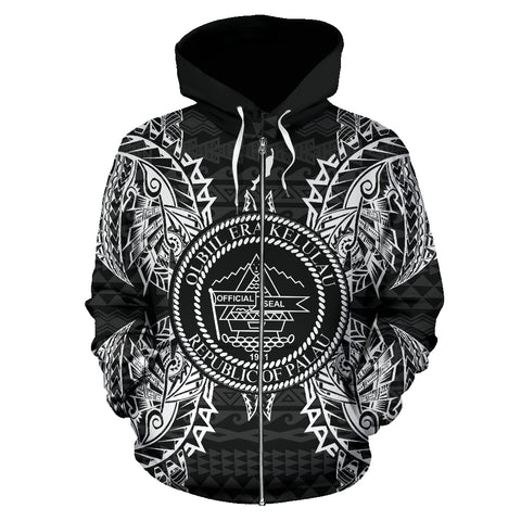 Palau Polynesian All Over Zip Up Hoodie Map Black