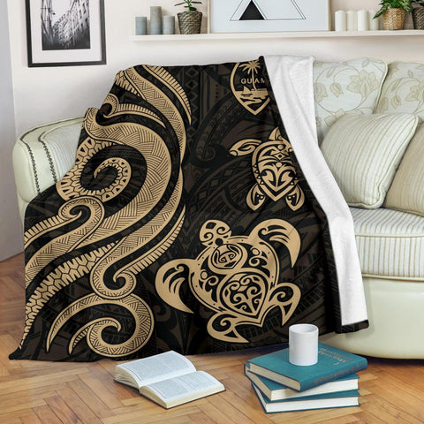 Image of Guam Polynesian Premium Blanket - Gold Tentacle Turtle
