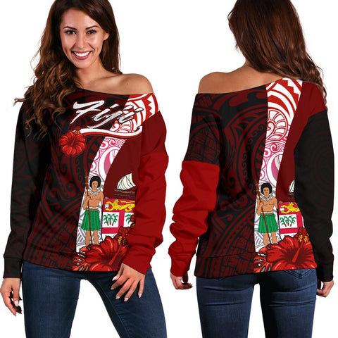 Fiji Polynesian Women's Off Shoulder Sweater - Coat Of Arm With Hibiscus