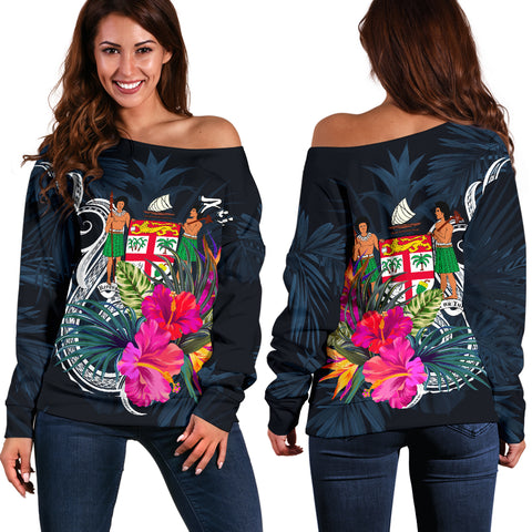 Fiji Polynesian Women's Off Shoulder Sweater - Tropical Flower