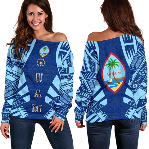 Image of Guam Women's Off Shoulder Sweater - Polynesian Tattoo Flag