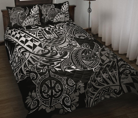 Tahiti Polynesian Quilt Bed Set - White Turtle Hibiscus Flowing