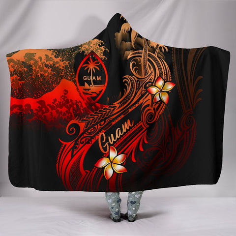 Guam Polynesian Hooded Blanket - Plumeria Flowers And Waves