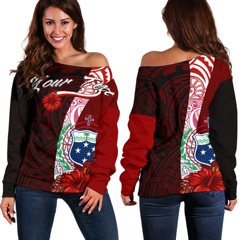 Image of Samoa Polynesian Custom Personalised Women's Off Shoulder Sweater - Coat Of Arm With Hibiscus