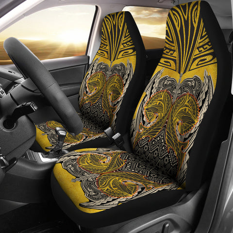 Image of Polynesian Car Seat Cover - Polynesian Maori Tattoo Wolf - BN17