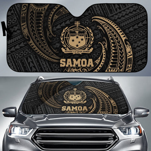 Polynesian Samoa Sun Shades - Gold Tribal Wave