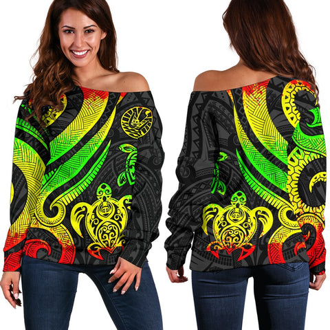 Tahiti Polynesian Women Of Shoulder Sweater - Reggae Tentacle Turtle