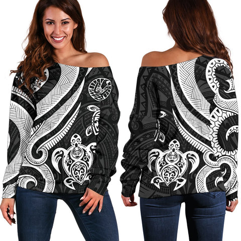 Tahiti Polynesian Women Of Shoulder Sweater - White Tentacle Turtle