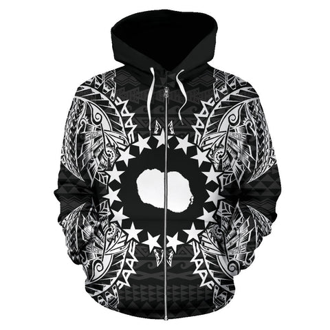 Cook Islands Polynesian All Over Zip Up Hoodie Map Black