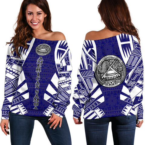 Image of American Samoa Women's Off Shoulder Sweater - Polynesian Tattoo Flag
