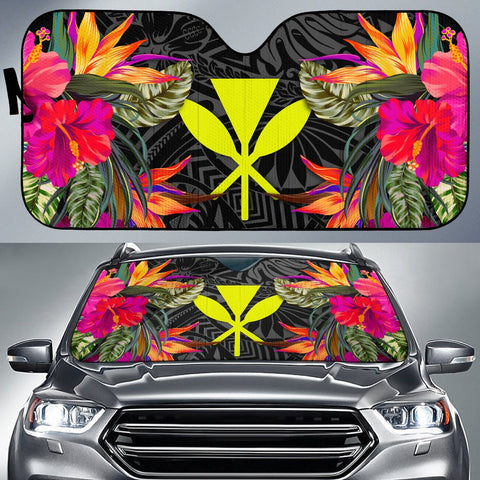 Hawaii Auto Sun Shades - Hibiscus Pattern