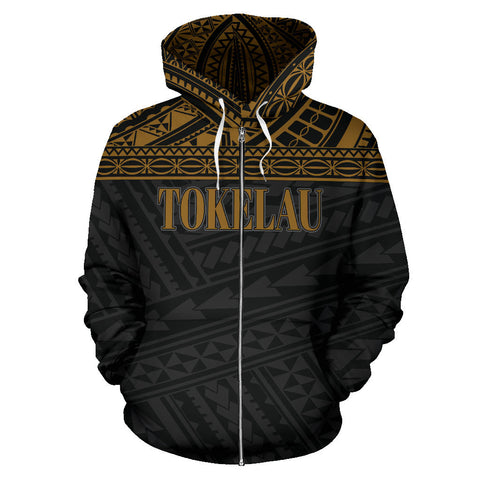 Tokelau Polynesian All Over Zip-Up Hoodie - Gold Horizontal - BN12