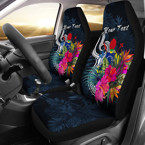 Cook Islands Polynesian Custom Personalised Car Seat Covers - Tropical Flower