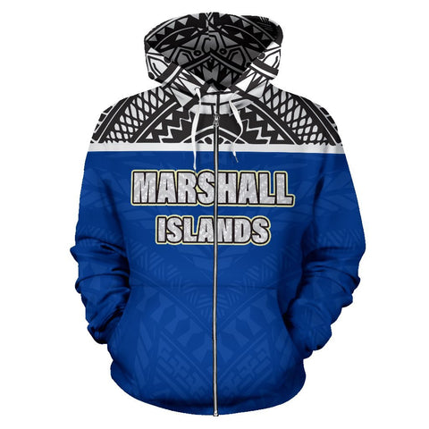 Marshall Islands All Over Print Zip-Up Hoodie | Polynesian Micronesian Hoodie Version