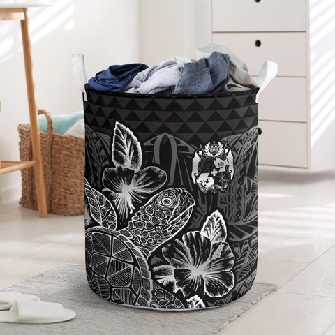 Image of Tonga Laundry Basket  -  Polynesian Turtle Hibiscus Black