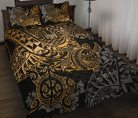 Tahiti Polynesian Quilt Bed Set - Gold Turtle Hibiscus Flowing