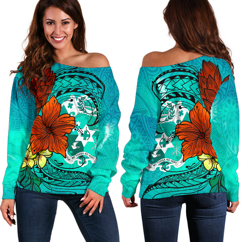 Tonga Women's Off Shoulder Sweater - Tropical Flowers Style - BN01