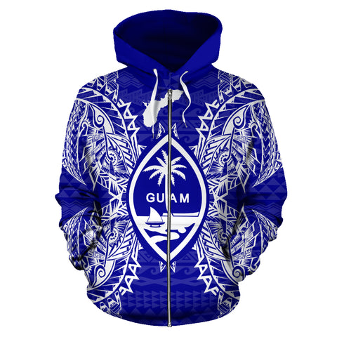 Guam Polynesian All Over Zip Up Hoodie Map Blue