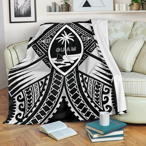 Guam Polynesian Premium Blanket - Guam White Seal with Polynesian Tattoo Ver 01