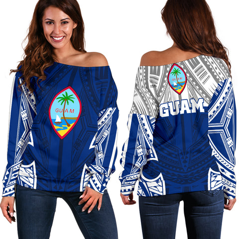 Guam Polynesian Women's Off Shoulder Sweater - Pattern With Seal Blue Version