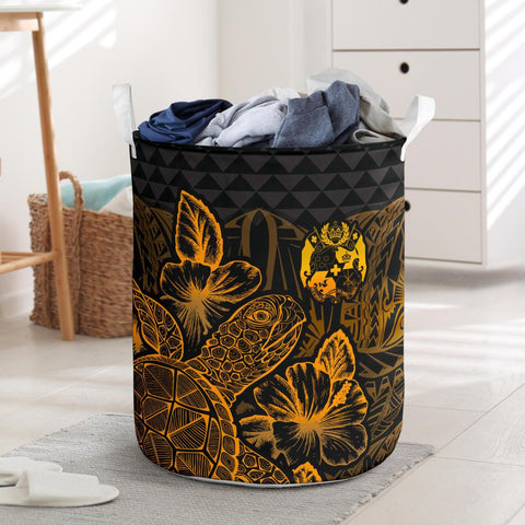 Image of Tonga Laundry Basket  -  Polynesian Turtle Hibiscus Gold
