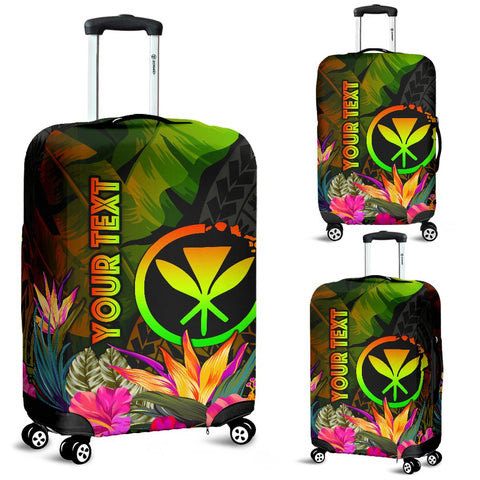 Polynesian Hawaii Kanaka Maoli Polynesian Personalised Luggage Covers -  Hibiscus and Banana Leaves