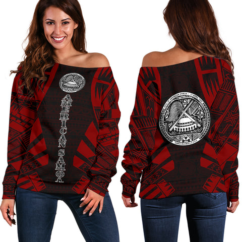 American Samoa Women's Off Shoulder Sweater - Polynesian Tattoo Red