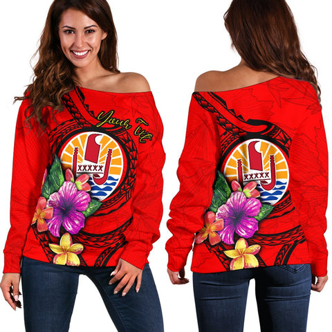 Tahiti Polynesian Custom Personalised Women's Off Shoulder Sweater - Floral With Seal Red
