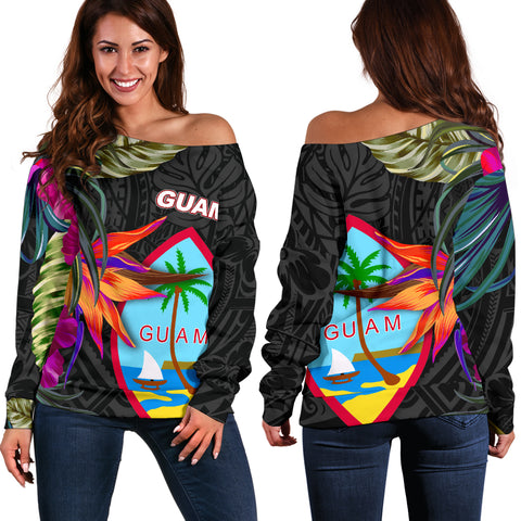 Guam Shoulder Sweater - Hibiscus Polynesian Pattern