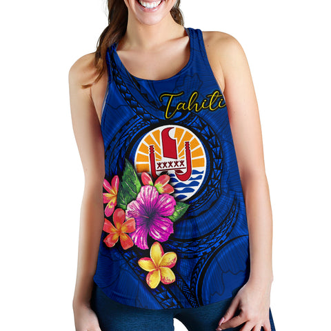 Image of Tahiti Polynesian Women's Racerback Tank - Floral With Seal Blue - BN12