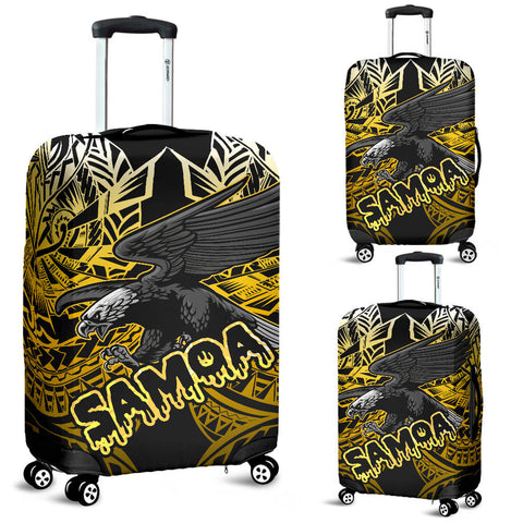 Samoa Polynesian Luggage Covers - Eagle Tribal Pattern Yellow