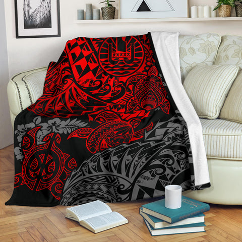 Image of Tahiti Polynesian Premium Blanket - Red Turtle Hibiscus Flowing