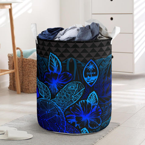 Image of Guam Laundry Basket  -  Polynesian Turtle Hibiscus Blue