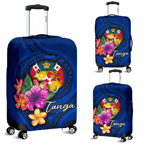 Tonga Polynesian Luggage Covers - Floral With Seal Blue