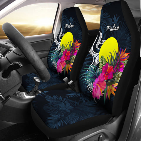 Image of Palau Polynesian Car Seat Covers - Tropical Flower