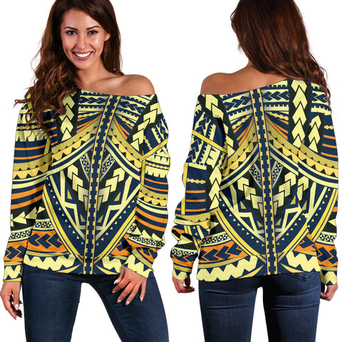 Polynesian Tattoo Off Shoulder Sweater
