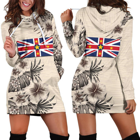Image of Niue Hoodie Dress - The Beige Hibiscus A7