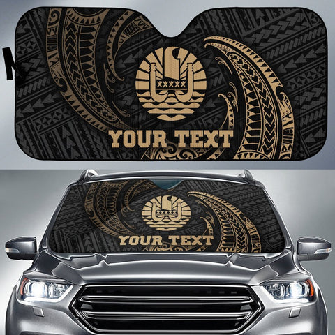Polynesian Tahiti Custom Personalised Sun Shades - Gold Tribal Wave