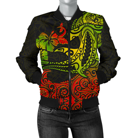 Hawaii Women's Bomber Jacket - Polynesian Hammerhead Shark