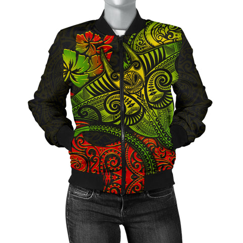 Image of Hawaii Men's Bomber Jacket - Polynesian Manta Ray