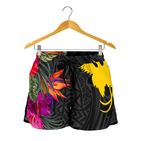 Papua New Guinea All Over Print Women's Shorts - Hibiscus Polynesian Pattern - BN39
