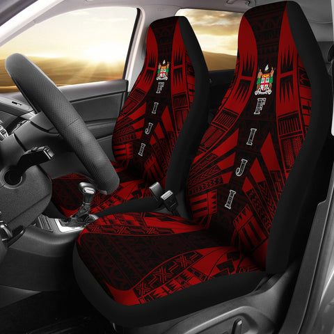Fiji Car Seat Covers - Polynesian Tattoo Red - BN09