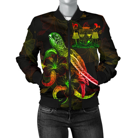 Fiji Polynesian Women's Bomber Jacket - Turtle With Blooming Hibiscus Reggae
