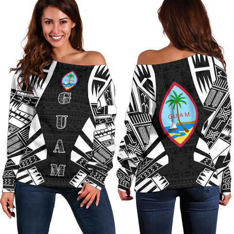 Image of Guam Women's Off Shoulder Sweater - Polynesian Tattoo Black