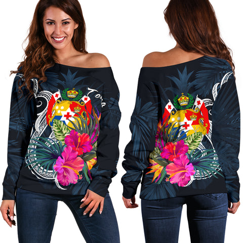 Tonga Polynesian Women's Off Shoulder Sweater - Tropical Flower