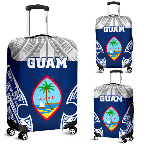 Guam Polynesian Luggage Covers - Pattern With Seal Blue Version