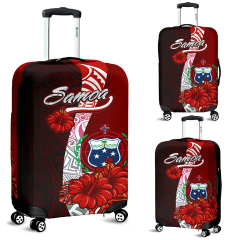 Samoa Polynesian Luggage Covers - Coat Of Arm With Hibiscus