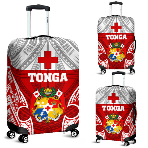 Tonga Polynesian Luggage Covers - Pattern With Seal Red Version