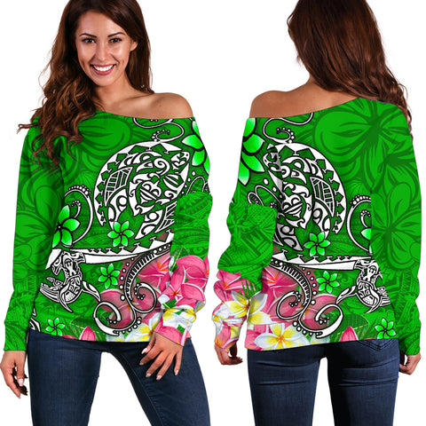 Polynesian Women's Off Shoulder Sweater - Turtle Plumeria Green Color